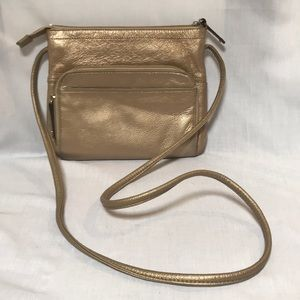 Leather gold cross body pocketbook